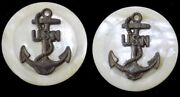 2 Vintage 1 Shell Buttons With Brass Us Navy Anchor Emblem Added