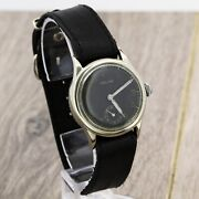 Helios Dh Wwii Swiss Made Wristwatch For German Army Black Dial Cal. As 1130