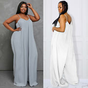 Womens Plus Size Jumpsuit Sleeveless Rompers Siamese Trousers Pocket Clothing