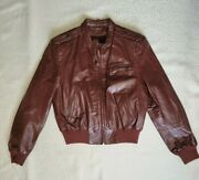 Vintage 80and039s Bermanand039s Genuine Leather Jacket Womanand039s Size 10 Burgundy