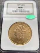 Avc- 1890-s Gold 20 Liberty Double Eagle Ngc Ms61 Cac