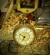 Small Spring Alarm Clock Manual Winding Gold Made In West Germany Antique