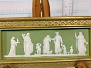 Rare Vintage Antique Wedgwood Light Green Jasperware Plaque 1800and039s