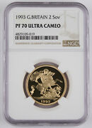 Great Britain Uk 1993 2 Pound/sovereign 0.47 Oz Agw Gold Proof Coin Ngc Pf70 Uc