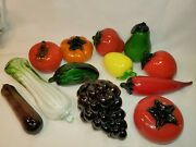 12 Vintage Murano Style Glass Fruit And Vegetables Hand Blown Art Deco Farmhouse
