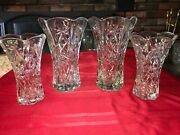 4 Vtg Eapc Flower Vase Clear Glass Anchor Hocking Star Of David 10andfrac14 And 8 Tall