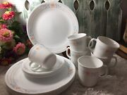 Vintage 5 Place Sets + Extra Plates Dinnerware Corelle Corning Apricot Grove 19