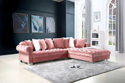 New Contemporary Pink Velvet Sectional Sofa W/ Accent Pillows Luxurious And Modern