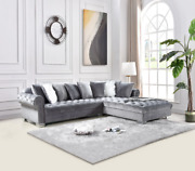 New Contemporary Gray Velvet Sectional Sofa W/ Accent Pillows Luxurious And Modern