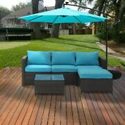 5 Piece Pe Rattan Wicker Sectional Sofa Sets All Weather Resistant With Cushions
