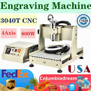4 Axis Cnc 3040 800w Router Engraver Pcb Wood Drill Milling 3d Engraving Machine