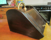 Old Antique Victorian Mahogany Fire Side Coal Log Scuttle And Zinc Liner C-1895