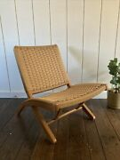 Hans Wegner Style Folding Rope Lounge Chair Great Condition Afm Japan Mcm