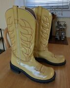 John Fluevog Cowboy Flame Stitch Boot 10 Yellow Leather Rockabilly Western