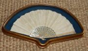 Antique Lace Hand Fan Mother Of Pearl Decorated Struts Gold Wood Frame 26 X 13