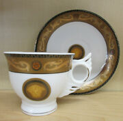 Rosenthal Versace Medusa Black And Gold Set Of 6 Tea Cup And Saucer In Round Hat Box