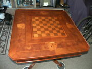 Italian Inlaid Wood Game Table Dal Negro Traviso Roulette Poker Chess Checkers