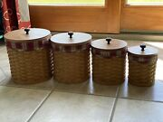 20pc. Longaberger Woven Canister Set W/ Toboso Plaid Liners And Protectors And Lids