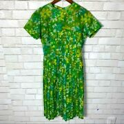Vintage House Dress Lime Green 50s Pleated Skirt Daisies Rockabilly Pin Up