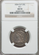 1834 O/f Capped Bust Quarter B-1 Ngc Au55 Steel Gray Tone Hint Of Luster At Edge