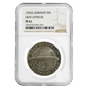 1930 A Germany Weimar Republic Graf Zeppelin 5 Mark Proof Silver Coin Ngc Pf 61