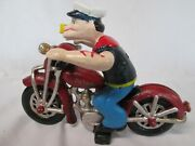 Popeye The Sailor Man On Red Motorcycle Wheels And Arms Move Cast Iron Toy