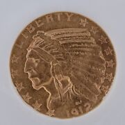 1912-s Indian Head Half Eagle 5 Gold Coin. Excellent Condition And Very Rare