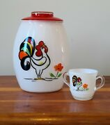 Bartlett Collins Rooster Cookie Jar And Sugar Bowl 4 Quart