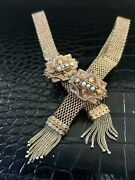 Signed A.o Baker 1874 Antique Glove Bracelets-gold Mesh-gold Clasps With Pearls