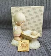 Vintage Precious Moments Come Let Us Adore Him Boy With Manger Baby 1978