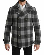 Dolceandgabbana Men Trench Coat Wool Blend Checkered Lined Thermal Casual Jacket