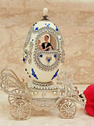 One Of A Kind Faberge Egg Wedding Gift For Bride Silver Vintage 1991 Sapphire Hm