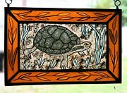 Stained Glass, Hand Painted, Kiln Fired, Spotted Turtle, 1203-02