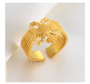 Gold Plated Albania Eagle Ring Women Girls Charm Gifts Trendy Fashion Jewelry