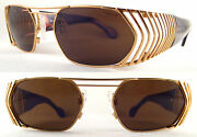Rare And Vintage Hollywood Style Unisex Sunglasses Metal / Gold / Brown