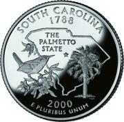 40 Coin Roll Of 2000 S South Carolina 90 Silver Proof Quarter - 10 Dollar Roll