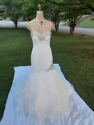 Allure Wedding Dress Size 8 Off White/silver Rhinestones Great Preowned Conditi