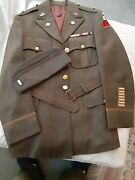 Original Wwii Us Army Officer Chocolate Od Gabardine Wool Blouse And Trousers Hat