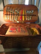 Vintage Jerywil 1940s Wov-n-wood Picnic Basket With Contents 21andrdquo By 11andrdquo