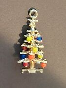 Vintage 14k Yellow Gold 3d Christmas Tree Charm Pendant Colorful Bead Ornaments