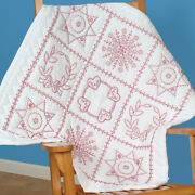 Stamped White Wall Or Lap Quilt 36x36-sampler, Jack Dempsey,part 739 4