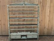 Antique Euro Hanging Painted Wood Wall Plate / Cup Display Rack