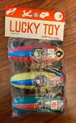 Vintage 1950s Lucky Toy Japan Tin Friction Race Cars - Unused And Sealed
