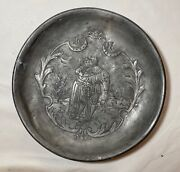 Rare Antique 1617 . 17th Century Engraved Hand Forged Pewter Dinner Plate Bowl