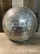 Vintage Ford Dog Dish Hubcap Faded Blue Lettering - 9 / 9.75 Rusty And Dented