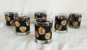 Vintage Libbey G Reeves Hollywood Mid-century Black Gold Coin Low Ball Glasses