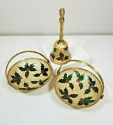 Cloisonne Brass Enameled Holly 2 Candy Bowls With Handles And Bell Vintage Xmas