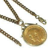 22ct George V Full Sovereign Pendant On A Long 9ct Rose Gold Curb Link Chain