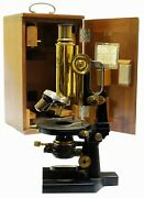 1890 - Carl Zeiss Microscope - Complete With Condenser, Diaphragm And Case