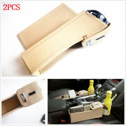 Leftand Right Car Seat Pu Storage Box Catcher Gap Filler Coin Collector Cup Holder